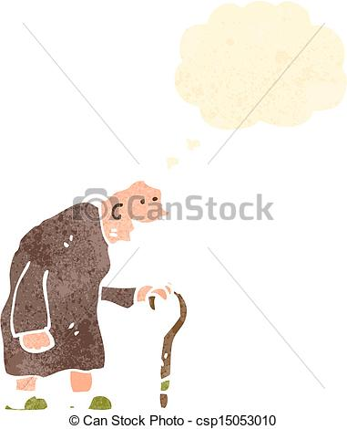 Old clipart walking stick With man Art cartoon with
