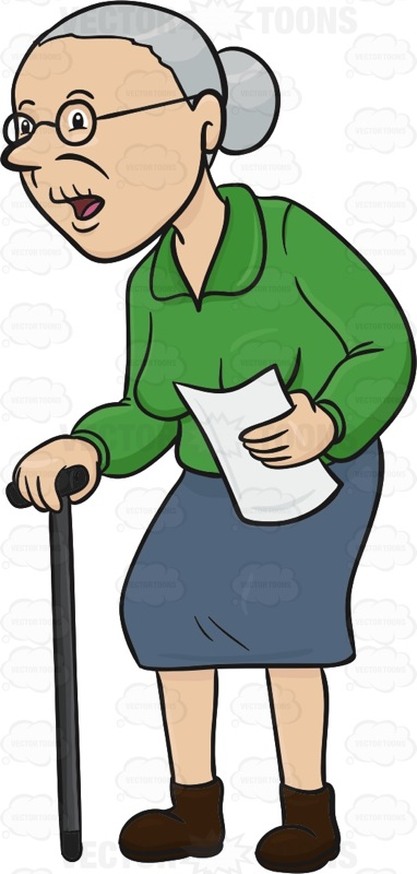 Old clipart walking stick Woman Elderly Cane  Is