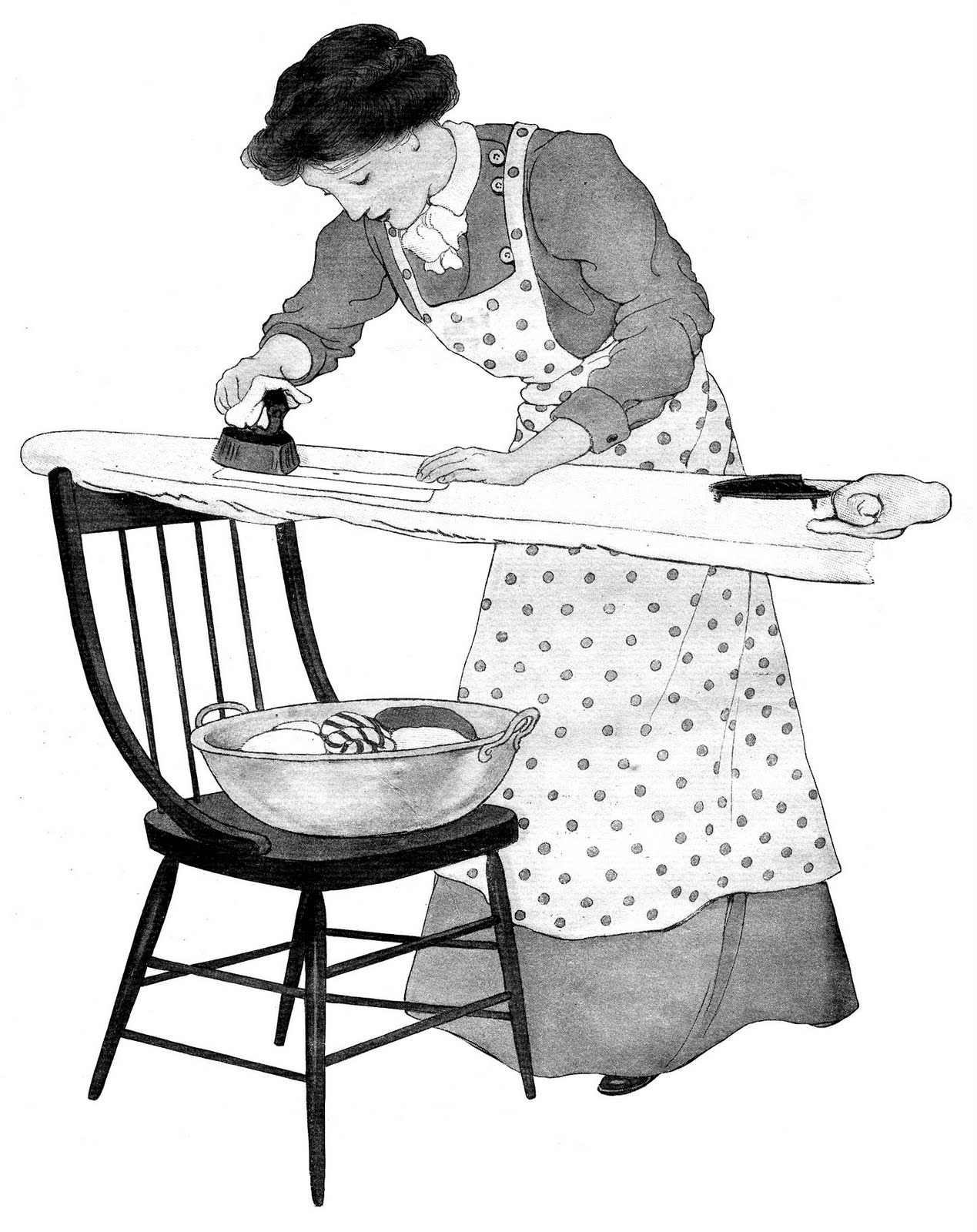 Old clipart woman ironing Horse Reading is Day Girl
