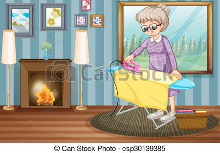 Old clipart woman ironing Csp30139385 lady lady clothes the