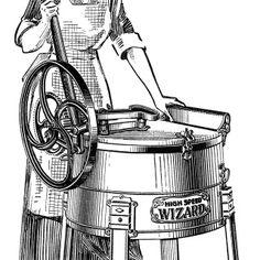 Old clipart woman ironing Fashioned housework washing vintage washer