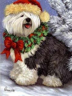 Old English Sheepdog clipart cartoon Highly Christmas X more is
