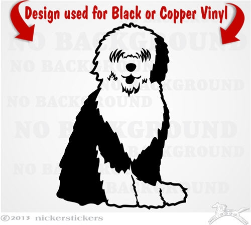 Old English Sheepdog clipart cartoon Decals Stickers ~ English NickerStickers