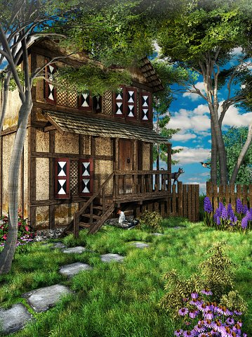 Old House clipart house yard Yard clipart Front The old