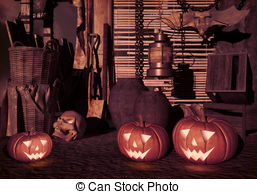 Old House clipart house yard Pumpkins in Halloween an house