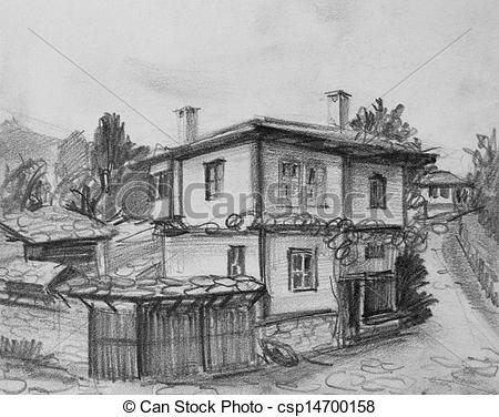Old House clipart sketch Of of Stock Bulgarian House