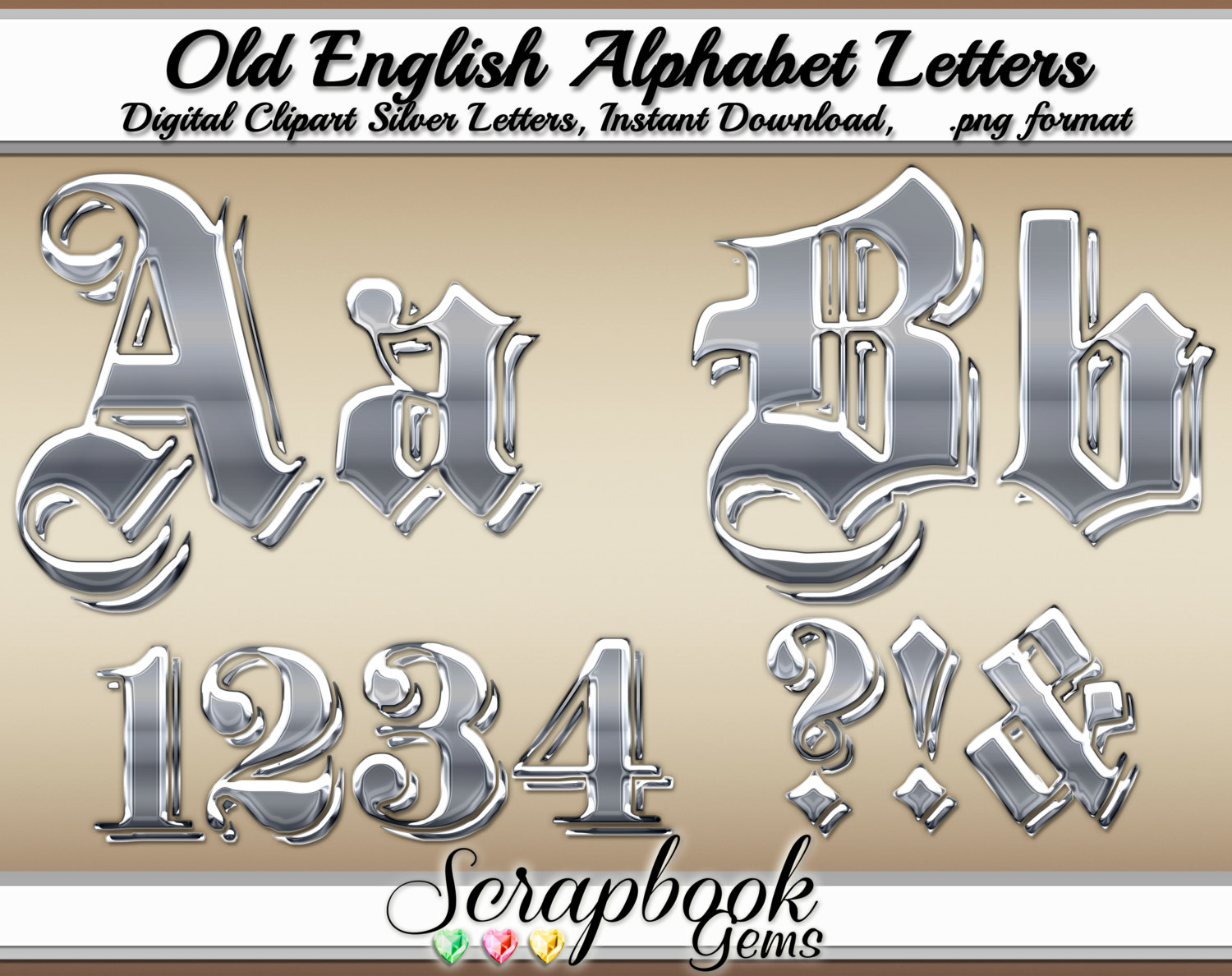 Old Letter clipart business letter And numbers  glitter Digital