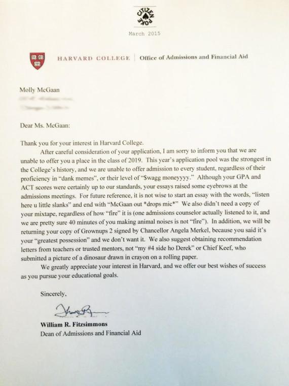 Old Letter clipart college admission Harvard Her Give letter rejection