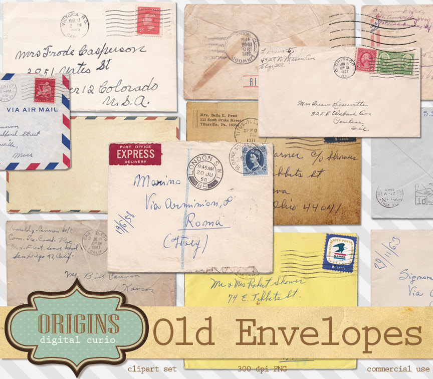 Old Letter clipart colored papers Art Envelopes Old Retro is