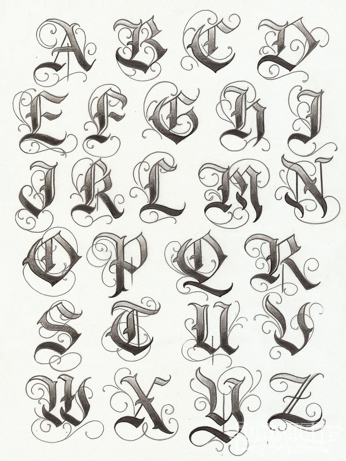 Old Letter clipart hand Tattoo English Style Letterhead