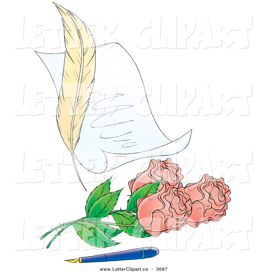 Old Letter clipart love Feather clipart roses pink Love