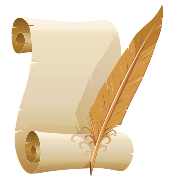 Scroll clipart feather Scrolled Quill Clip Quill