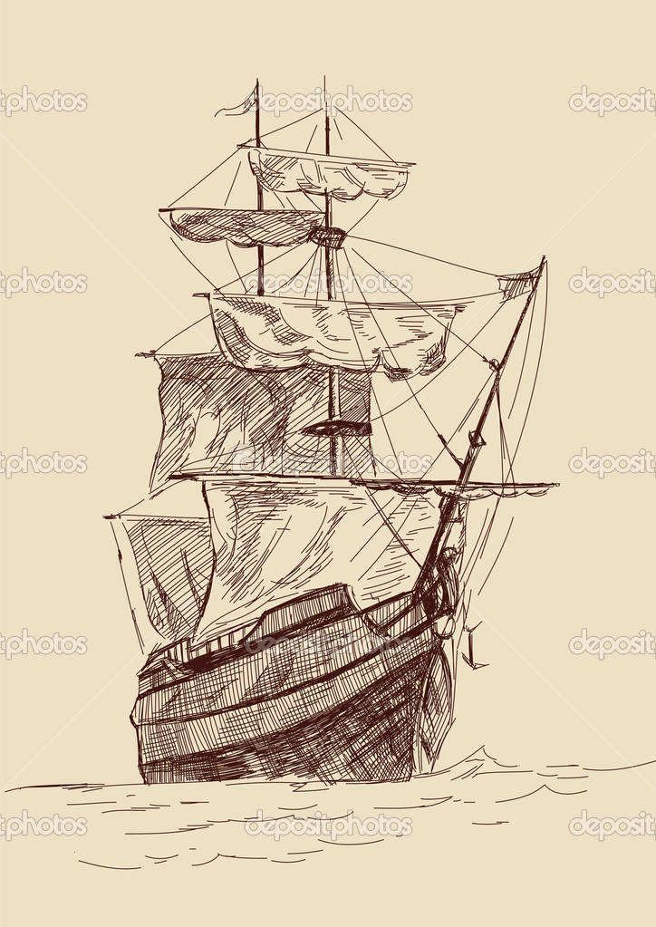 Boat clipart old fashioned Ship old time Vintage art