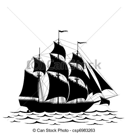 Old Sailing Ships clipart black and white  isolated Vectors Black ship