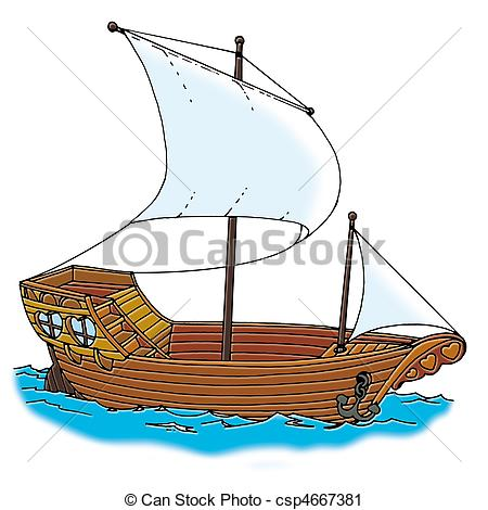 Old Sailing Ships clipart tall ship Ship classic galleon Stock illustration