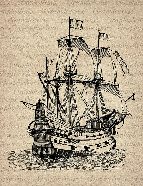 Old Sailing Ships clipart olden day Download Old Graphics Sheet Transfer