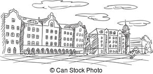 Old Town clipart rothenburg ob der tauber European vector cityscape Free Royalty