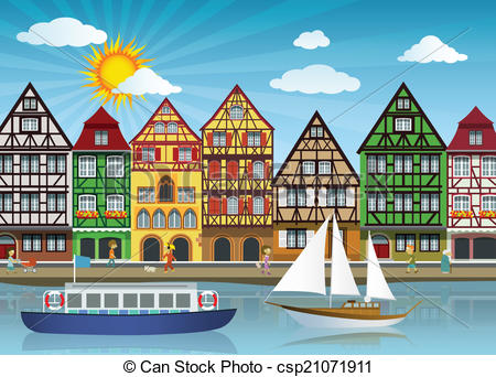 Old Town clipart rothenburg ob der tauber Clip Old of illustration Vector