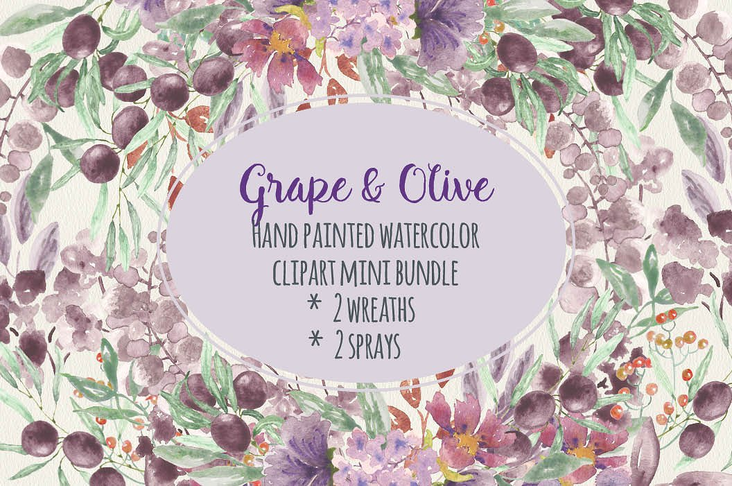 Grape clipart olive Illustrations on art: Watercolor ~
