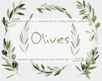 Olive clipart greek olive Etsy leaf Leaves Wreath Garland