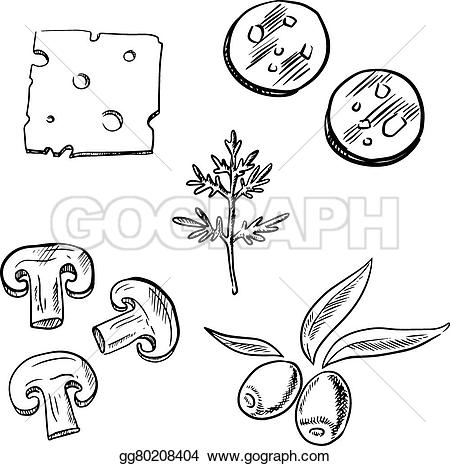 Olive clipart topping Clipart cheese with olive pizza