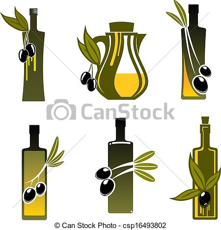 Olive Oil clipart vector Olive with Bottles food oil