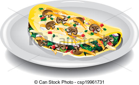 Omelette clipart Omelet Vegetable breakfast EPS