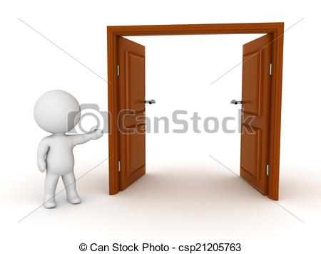 Open Door clipart double door 3D of Illustration Character 3D