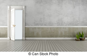 Open Door clipart old door Clipart Vintage with old interior