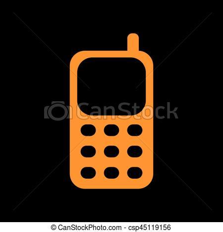 Orange clipart cell phone Vector Old phosphor on black