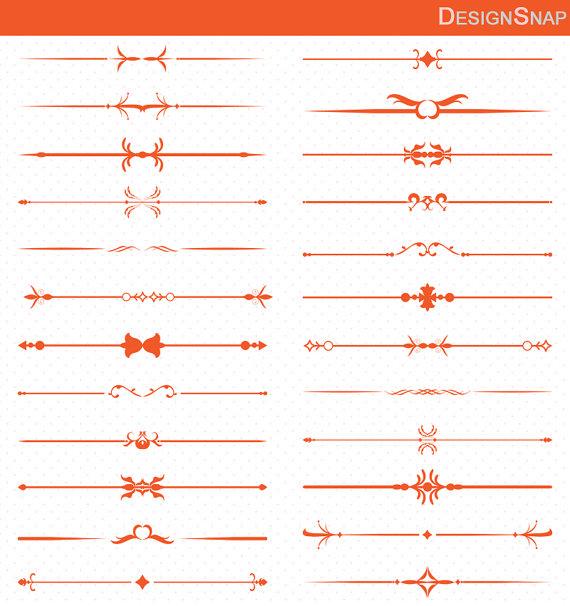 Orange clipart divider 24 Clipart set Art Text
