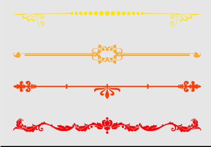 Orange clipart divider Set Text Multicolour Dividers