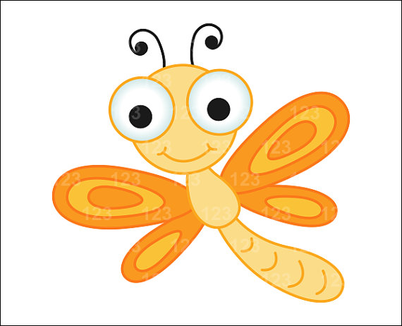 Yellow clipart dragonfly 1 Orange Digital Dragonfly Art