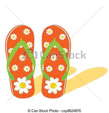 Orange clipart flip flops Flip with flower flower with