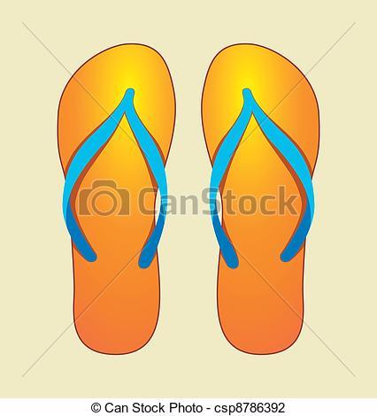 Orange clipart flip flops Of Illustration of  Flops