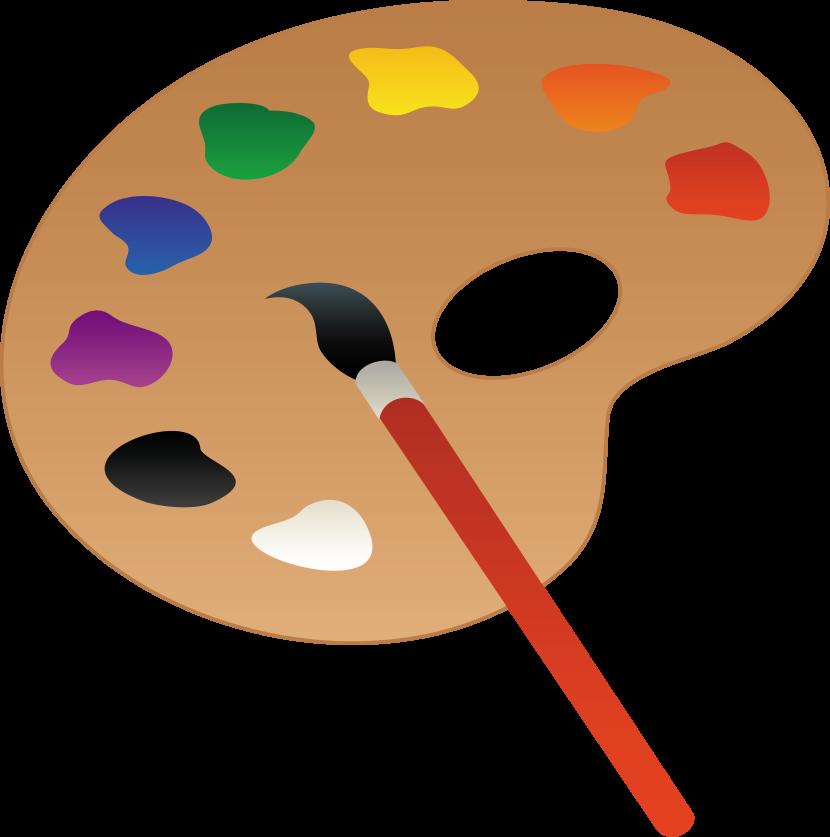 Palette clipart blank 3 brush at vector art