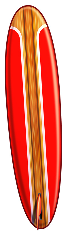 Red clipart surfboard #2