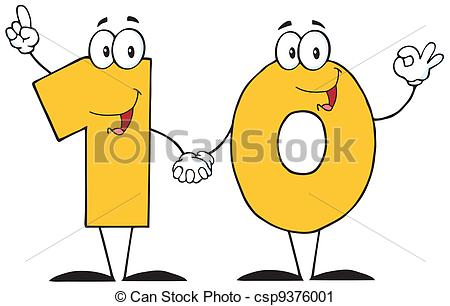Orange clipart cell phone Illustration of Number Ten Character