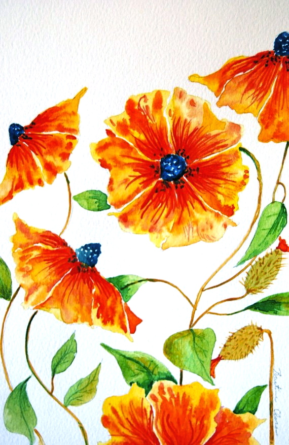 Orange Flower clipart bright flower Tutorial Petals Tutorial Painting Orange
