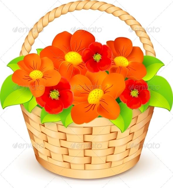 Orange Flower clipart cartoon vector With flowers Vector Basket Basket