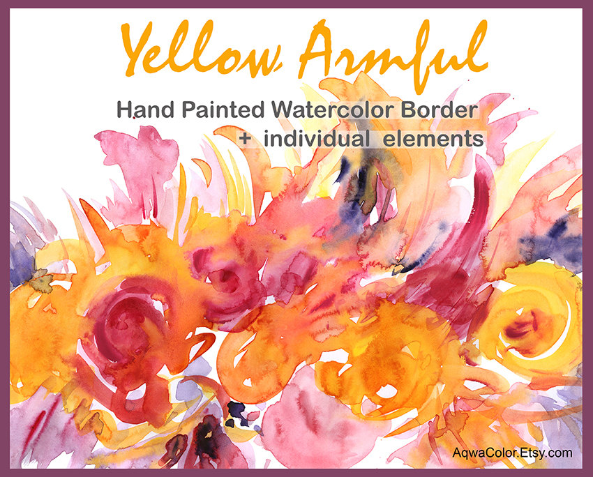 Orange Flower clipart flower bottom border Is  Watercolor file clipart