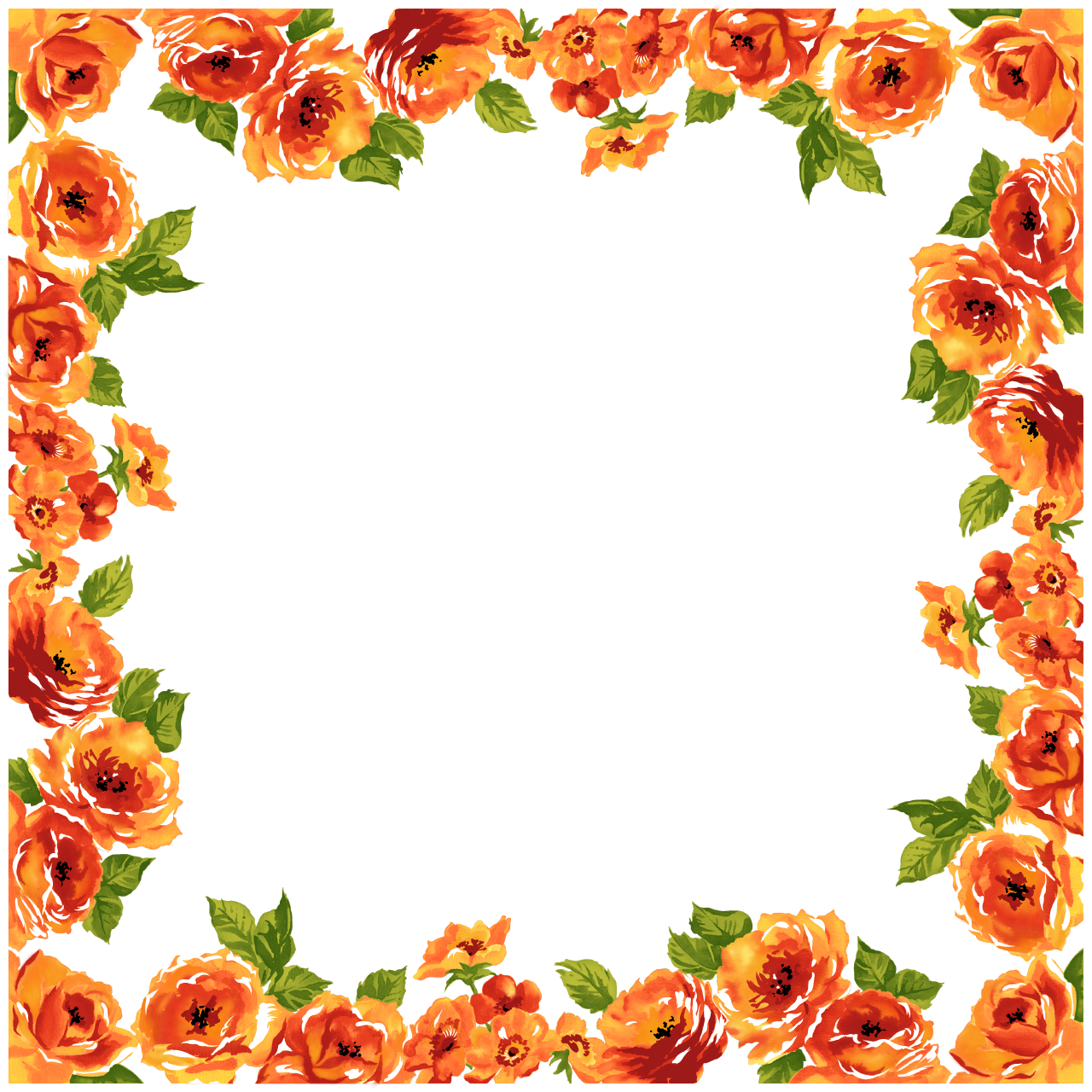 Orange Flower clipart flower bottom border Art And Free Clip on