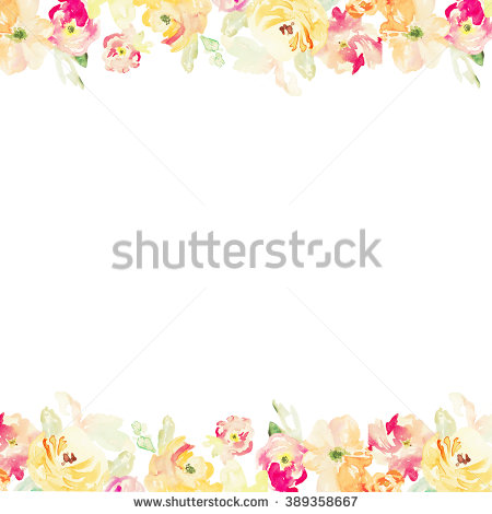 Orange Flower clipart flower bottom border Watercolour and Red Border Flower