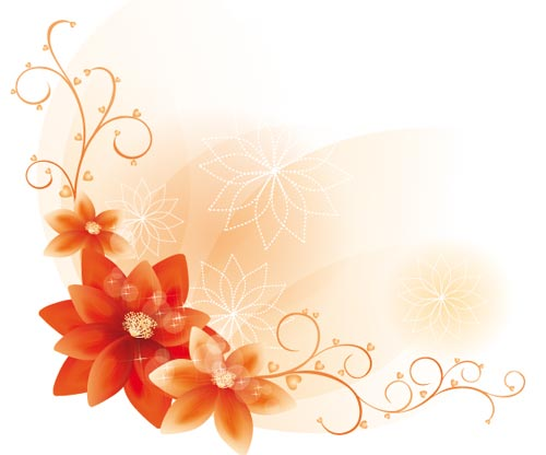 Orange Flower clipart flower bottom border Blue Borders Page  Corner