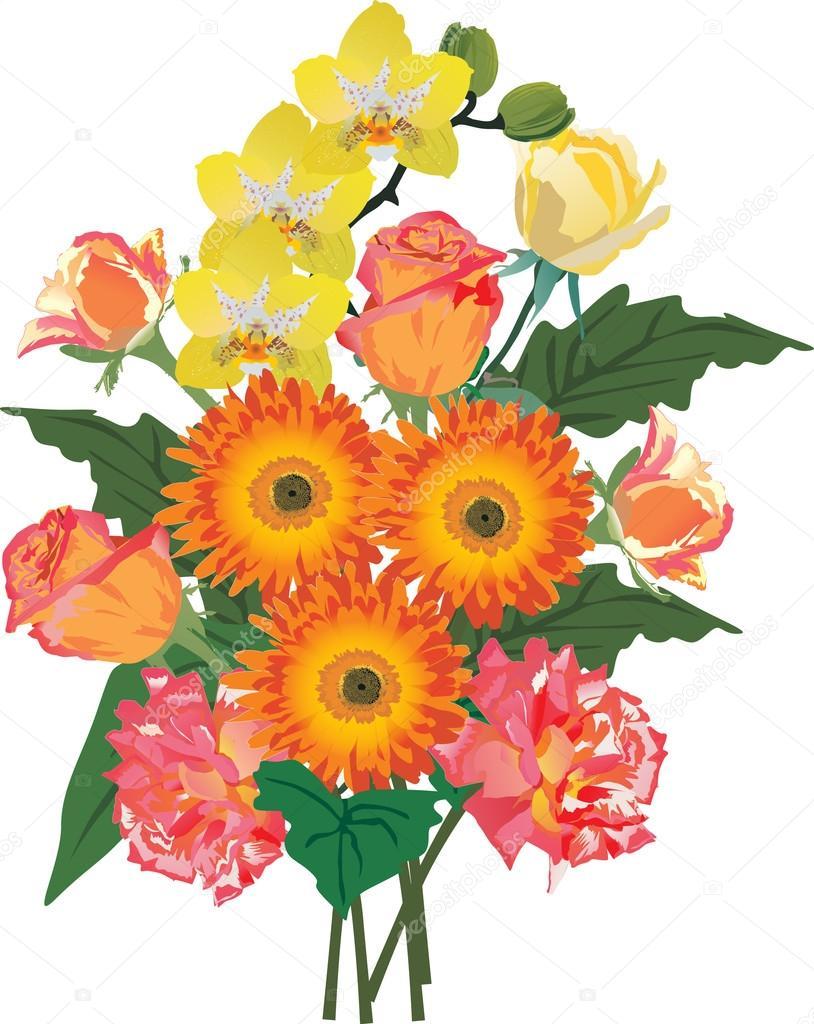 Orange Flower clipart flower decoration Of illustration flowers Bunch Vector
