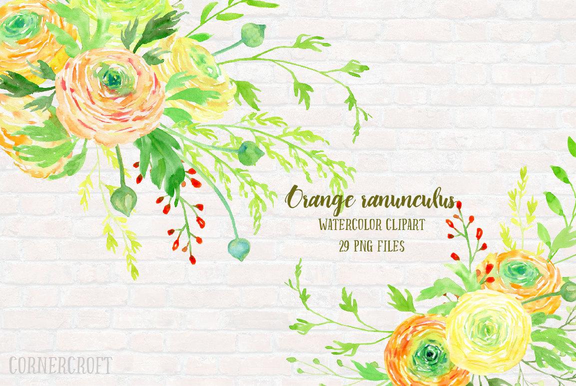 Orange Flower clipart flower decoration Is Orange digital Ranunculus This