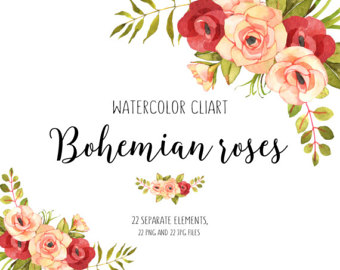 Orange Flower clipart flowery Flower flower Roses Boho Floral