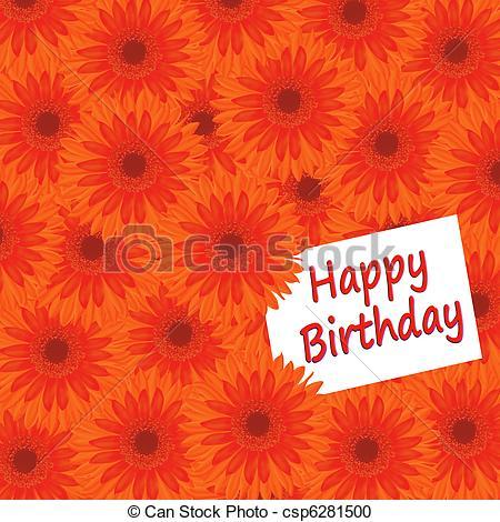 Orange Flower clipart happy birthday flower Illustration with card Birthday Happy