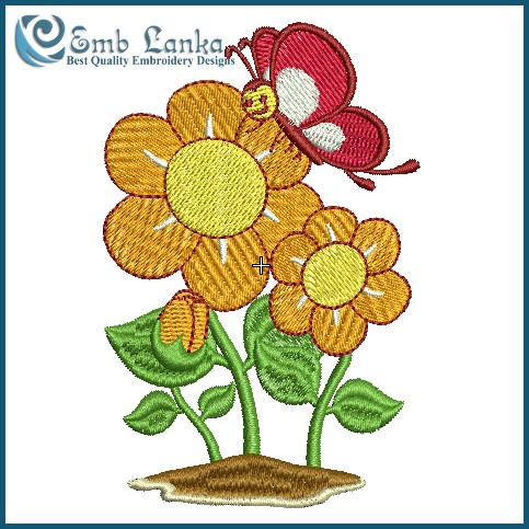 Orange Flower clipart flower bottom border Mascot of a Orange Embroidery