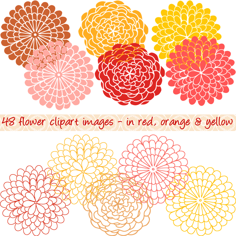 Orange Flower clipart flower bottom border Clipart Dutch Styles Color Clipart
